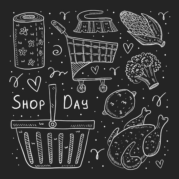 ショップの日手描き落書きのイラスト。暗い背景に分離された図面をチョークします。トロリー、チキン、ブロッコリー、トウモロコシ、パン、パック、バッグ、バスケット、紙。 Premiumベクター