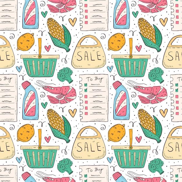 ショッピング手描き落書きのシームレスなパターン。白い背景で隔離されました。チェックリスト、ブロッコリー、トウモロコシ、エビ、パック、バッグ、バスケット、ボトル、販売。 Premiumベクター