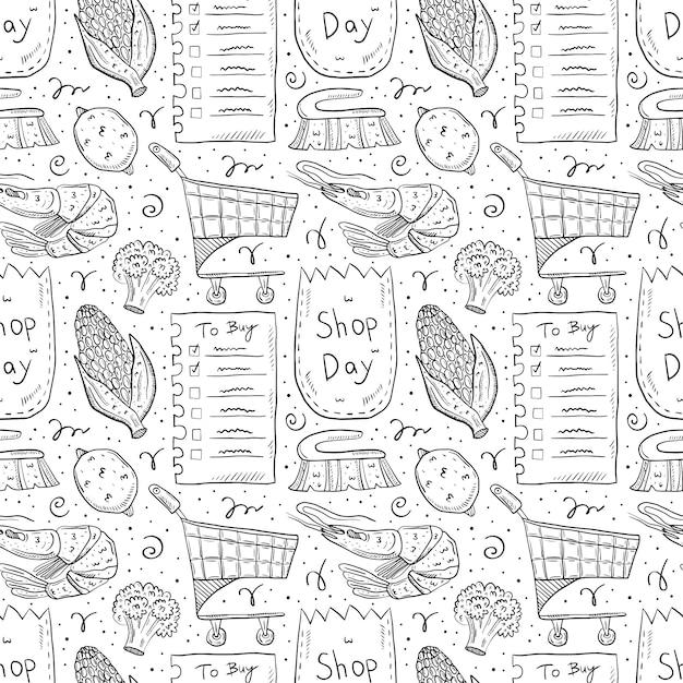 ショッピング手描き落書きのシームレスなパターン。白い背景で隔離されました。チェックリスト、トウモロコシ、エコパック、紙袋、トロリー、ブロッコリー、レモン、ブラシ、エビ。 Premiumベクター