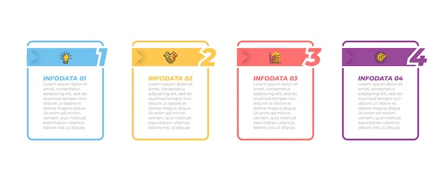 Бизнес-процесс. хронология инфографики и маркетинговые иконки с вариантами, шаги, прямоугольники. Premium векторы
