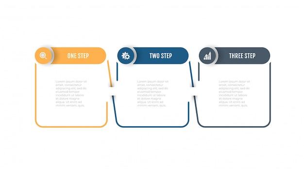 サークルラベル、オプション、ステップのベクトルを持つビジネス細い線要素。 Premiumベクター