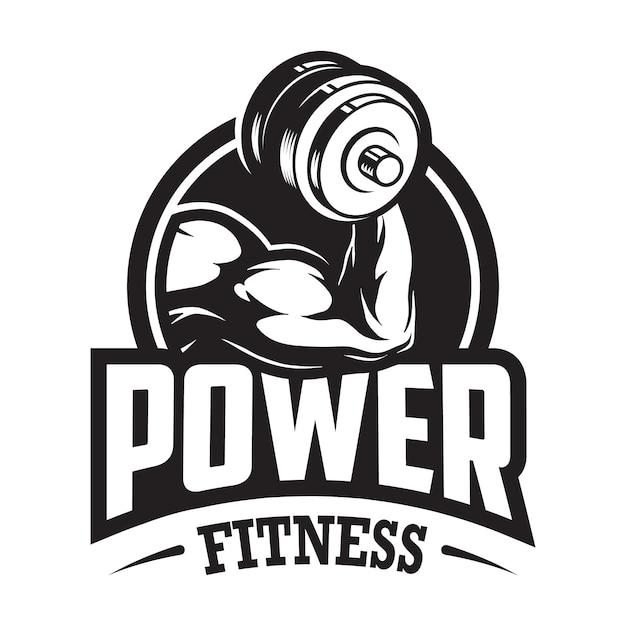 Урожай монохромный спорт и фитнес-логотип с мышечной рукой, держащей гантели Premium векторы