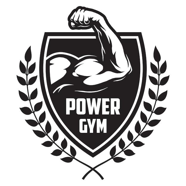 Монохромный логотип спорта и фитнеса с лавровыми ветвями мускулатуры культуриста Premium векторы
