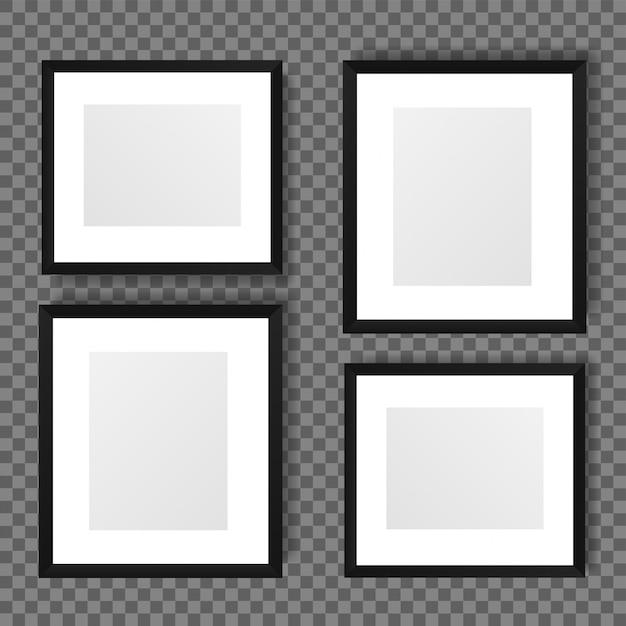 透明な背景に隔離された現実的な画像フレーム。 Premiumベクター