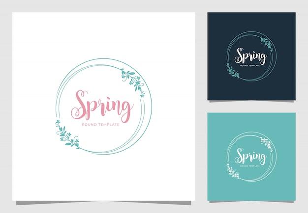 花のフレームのロゴデザインのインスピレーション Premiumベクター