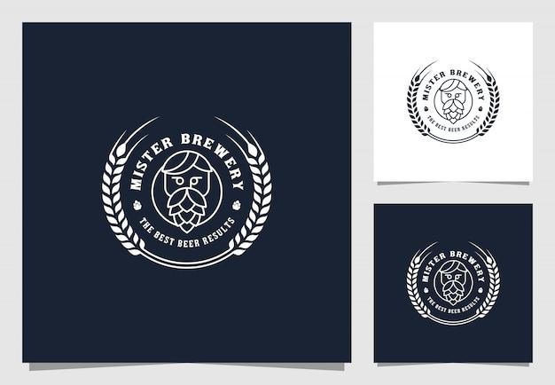 Пивоварня винтажный логотип премиум дизайн Premium векторы
