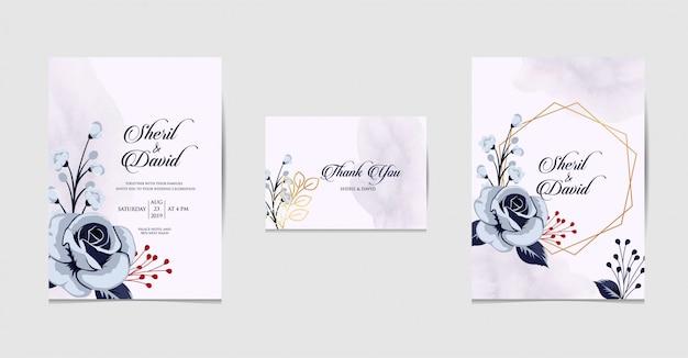 Установить приглашение на свадьбу с синим цветом Premium векторы