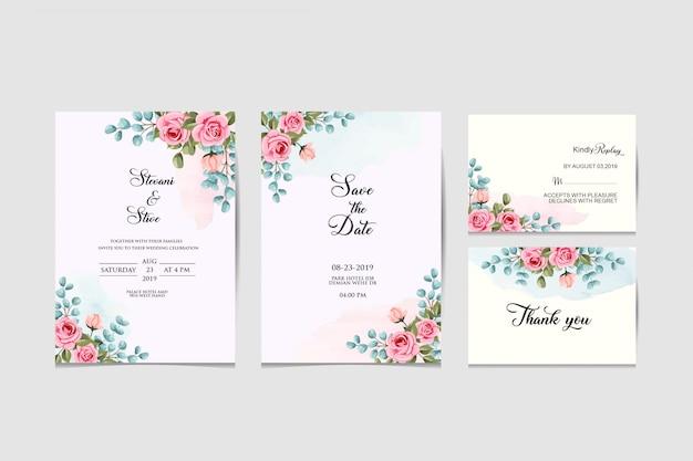 Набор свадебных приглашений Premium векторы