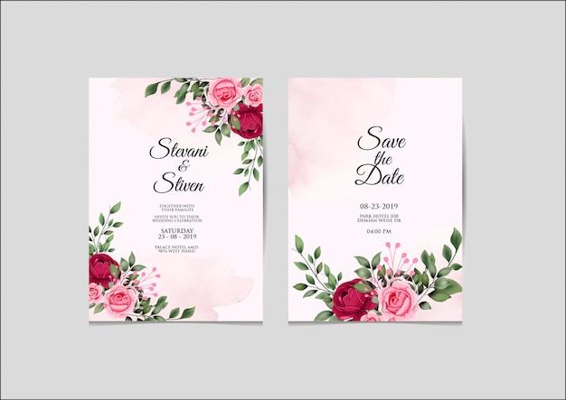 結婚式の招待状テンプレートの美しさとエレガント Premiumベクター