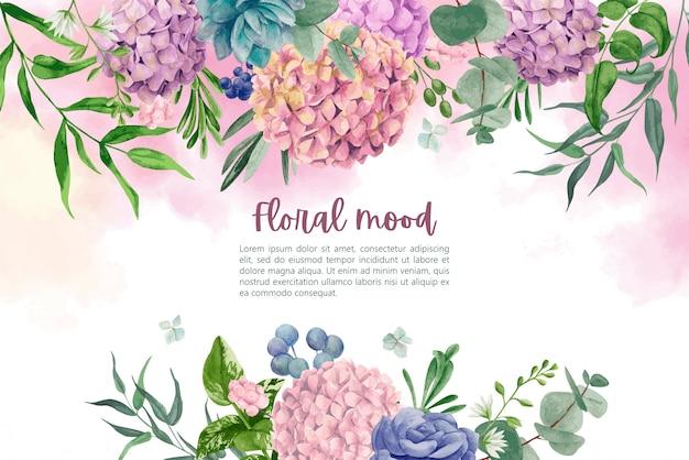 アジサイの花と葉で濡れた水彩背景 Premiumベクター