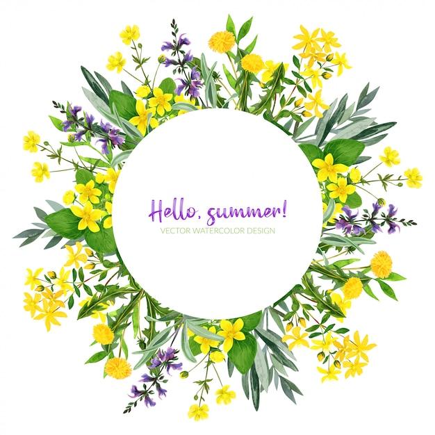 水彩花、ハーブ、緑、ラウンドフレーム Premiumベクター