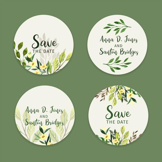 Набор свадебных наклеек, акварельные этикетки зелени Premium векторы