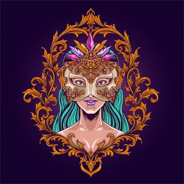 マスクとカーニバルマルディグラの女の子 Premiumベクター