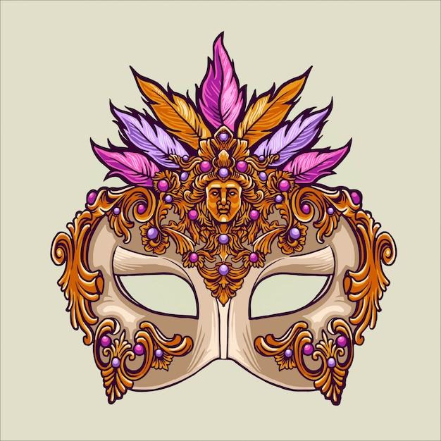 マスクとカーニバルマルディグラ Premiumベクター