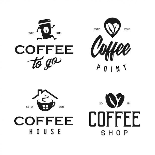 Набор шаблонов логотипа кафе Premium векторы