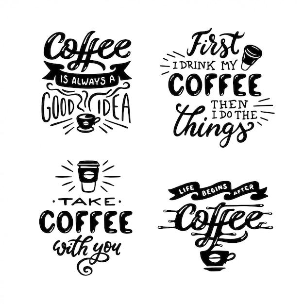 Набор рисованной кофе цитаты Premium векторы