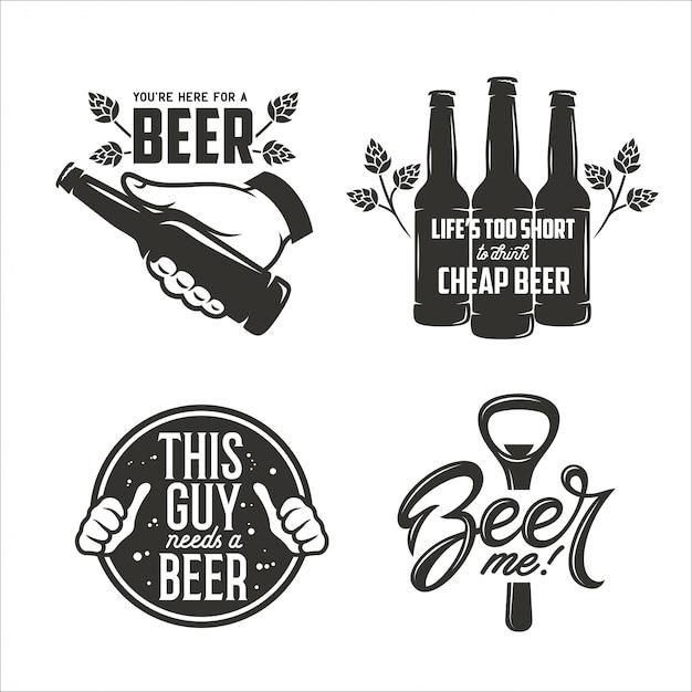 ビール関連の引用符セット。ビール広告デザイン要素。 Premiumベクター