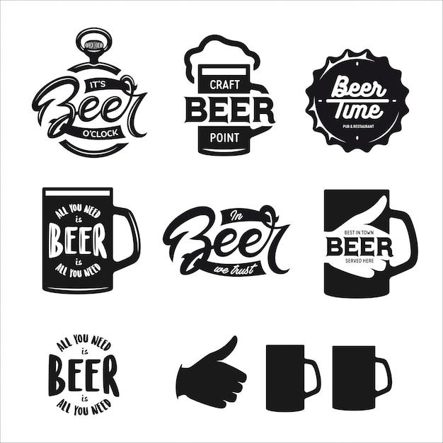 Типография, связанная с пивом. векторные винтажные надписи. Premium векторы