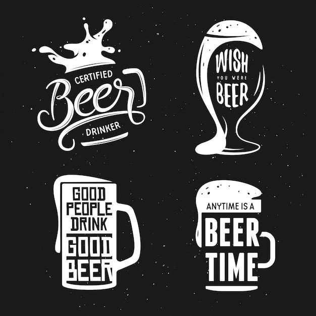 Типография, связанная с пивом. векторная иллюстрация винтаж надписи. Premium векторы