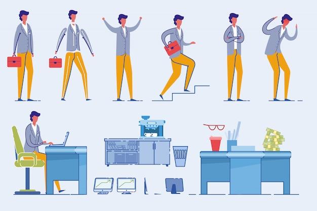 オフィス家具と実業家文字セット。 Premiumベクター