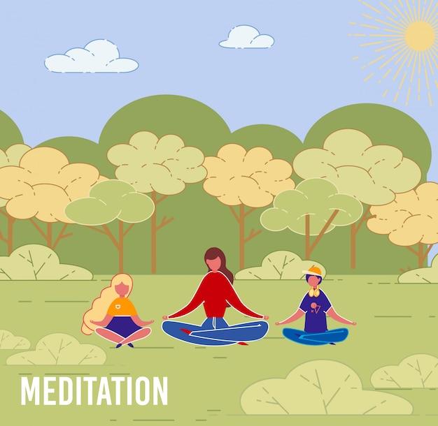 子供ヨガ屋外瞑想を持つ母。 Premiumベクター