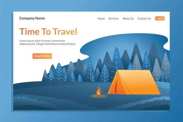 Шаблон целевой страницы путешествия для активного отдыха. Premium векторы