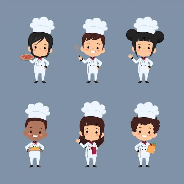 Набор детей шеф-повар мультипликационный персонаж, используя фартук, приготовление пищи Premium векторы