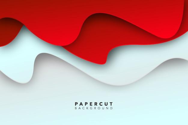 抽象的な赤白紙カット背景 Premiumベクター