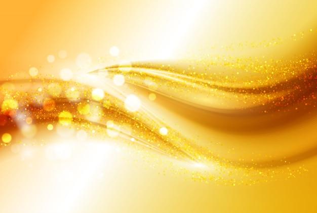 滑らかな光の金の波線とレンズフレアは抽象的な背景をベクトルします。 Premiumベクター