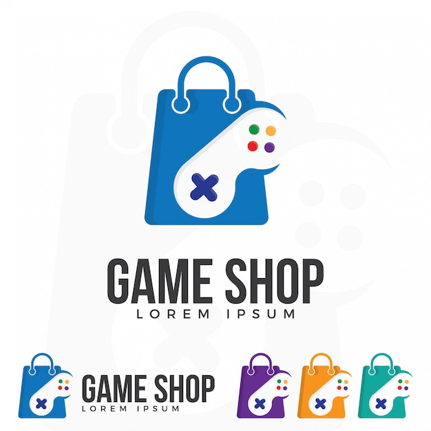 ゲームショップロゴイラストベクトル。 Premiumベクター