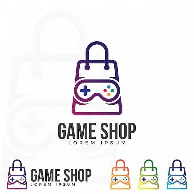 ゲームショップロゴイラストベクター。 Premiumベクター