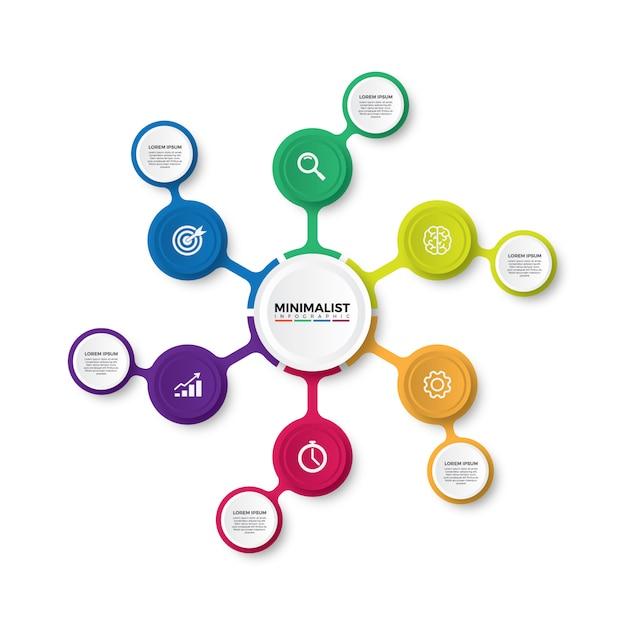 カラフルなミニマリストのインフォグラフィックデザイン Premiumベクター