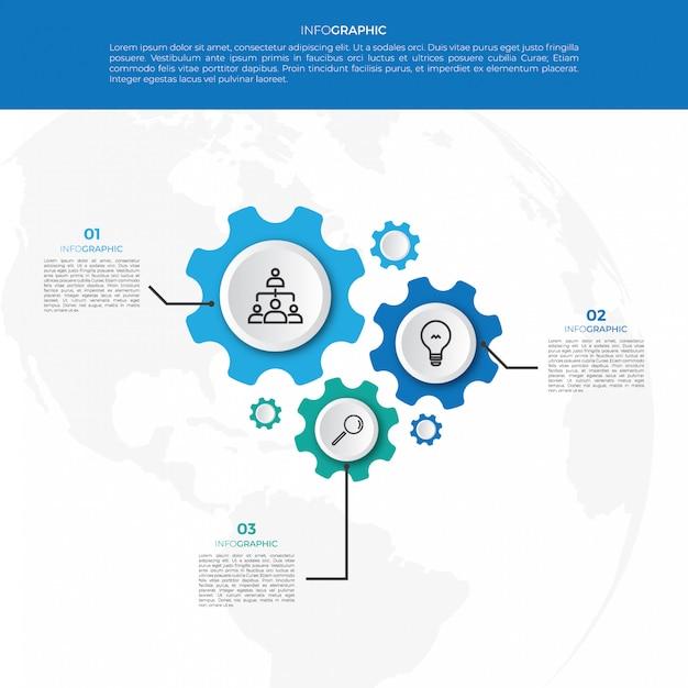 Бизнес-механизм инфографика дизайн шаблона Premium векторы