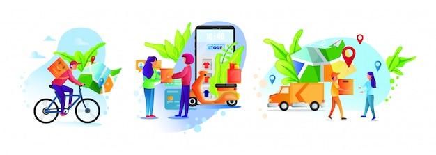 Онлайн сервис доставки концепции, онлайн отслеживание заказа, доставка домой и в офис склад, грузовик, дрон, скутер и велосипед курьер, курьер в респираторной маске. Premium векторы