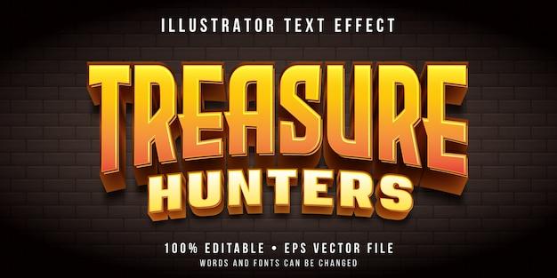 Редактируемый текстовый эффект - игра в стиле поиска сокровищ Premium векторы