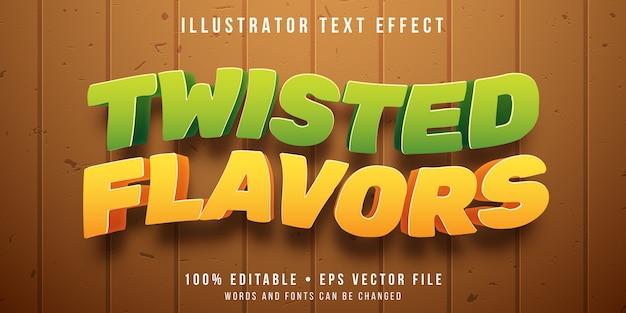 Редактируемый текстовый эффект - твист с фруктовым вкусом Premium векторы
