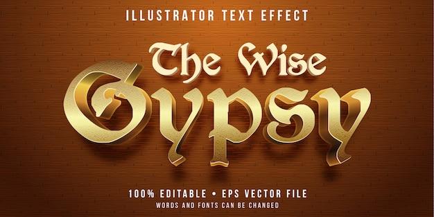 Редактируемый текстовый эффект - золотой цыганский стиль Premium векторы