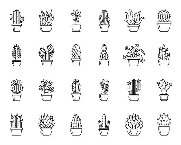 サボテンと多肉植物のラインアイコンセット、家の庭、植木鉢のシンプルな記号で砂漠の植物。 Premiumベクター