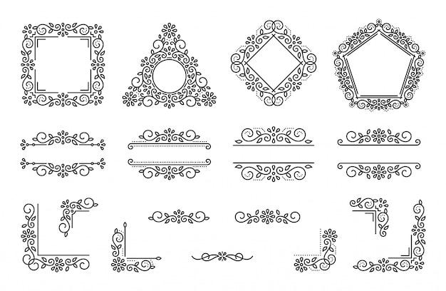 Текстовый фрейм монограмма разделитель угол набор, фантазии элегантный свадебный цветочный орнамент цветочный элемент. Premium векторы