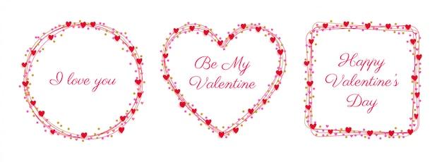 Набор значков с сердечками на день святого валентина Premium векторы