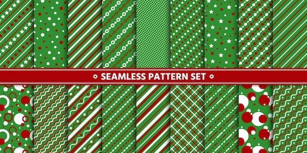Бесшовные шаблон линии круг звезды набор, бумажная упаковка, зеленый красный белый. Premium векторы