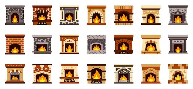 暖炉クリスマス火フラットアイコンセット、居心地の良いホームサイン、クリスマスギフト靴下場所。 Premiumベクター