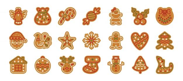 クリスマスジンジャーブレッド、クリスマスクッキー、ホームベーキングの甘い食べ物、ジンジャービスケットフラット漫画アイコンセット。 Premiumベクター