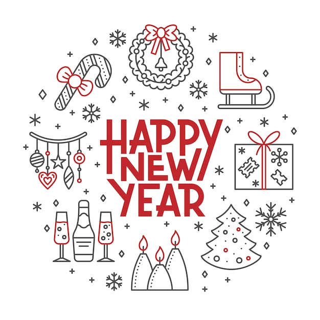 С новым годом карты, зимний праздник красный, черная линия значок надписи баннер. Premium векторы
