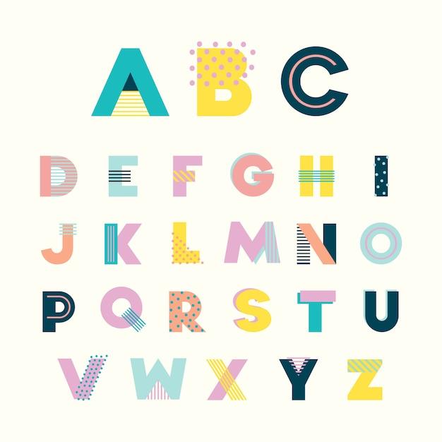 Красочный алфавит мемфисский стиль с геометрическим перфорированным пастельным цветом. Premium векторы