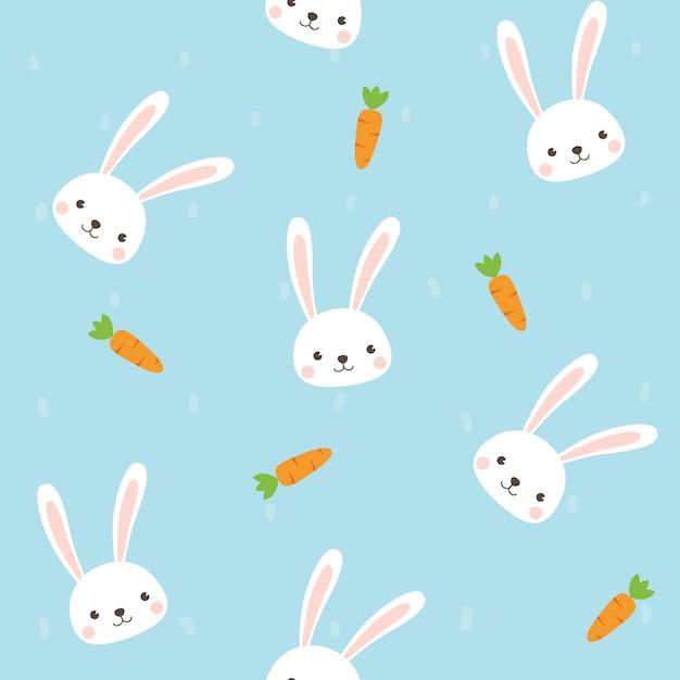 ニンジンのシームレスなパターンを持つかわいいウサギのキャラクター Premiumベクター