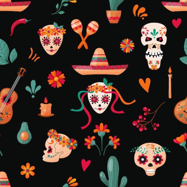 暗い背景に砂糖の頭蓋骨、花や果物の装飾とのシームレスなパターン。メキシコの休日。 Premiumベクター