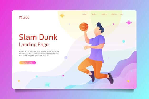 フラットスタイルのバスケットボールスポーツのランディングページ Premiumベクター
