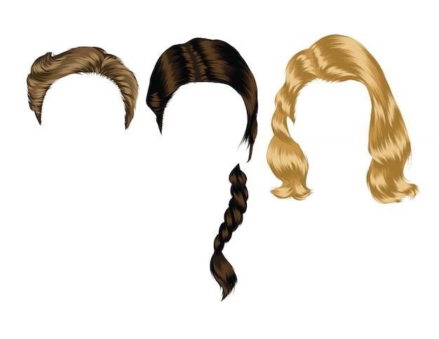 女性の髪型のカラーイラスト。女の子のための孤立したヘアカットとスタイリング Premiumベクター