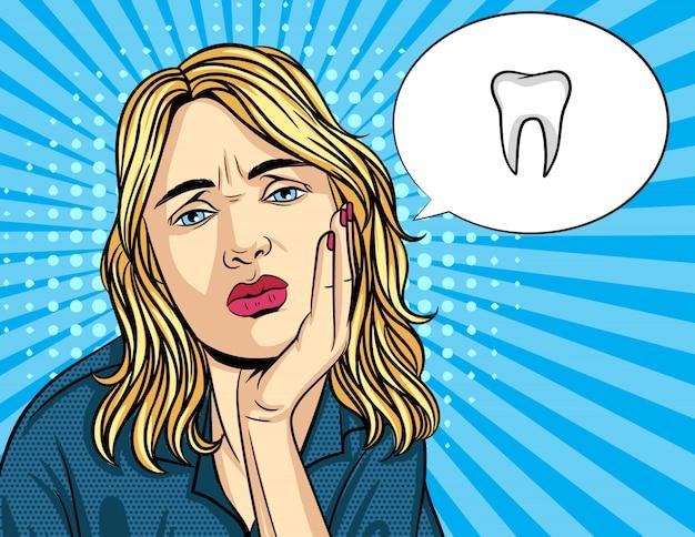 不幸な女性のベクトルレトロなイラストポップアートコミックスタイルは彼女の頬に手を保ちます。女の子は歯の痛みがある Premiumベクター